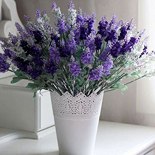 10head Hermoso ramo de flores artificiales lavanda