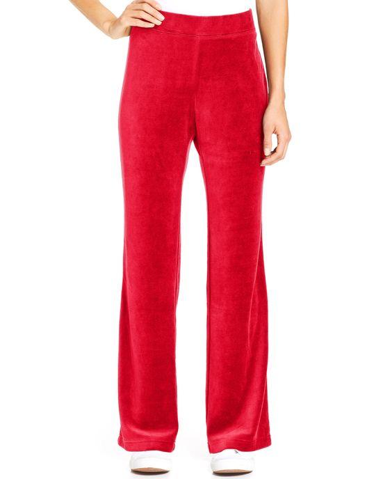 New Style/&Co Sport Women/'s Size 1X Straight Leg Black Velour Pants