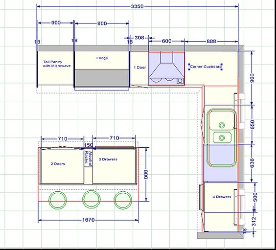 Kitchen blueprints floor plan the challenger 2 kitchen for Galley kitchen floor plans
