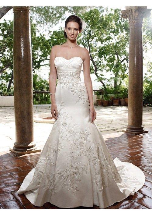 Beautiful Satin Mermaid Sweetheart Wedding Dress with Crystal and rhinestone three-dimensional Flower  - Mermaid Wedding Dresses - Wedding Dresses