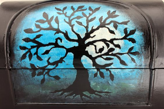 Handpainted Upcycled Jewelry/Trinket Box  Tree by 805Collectibles