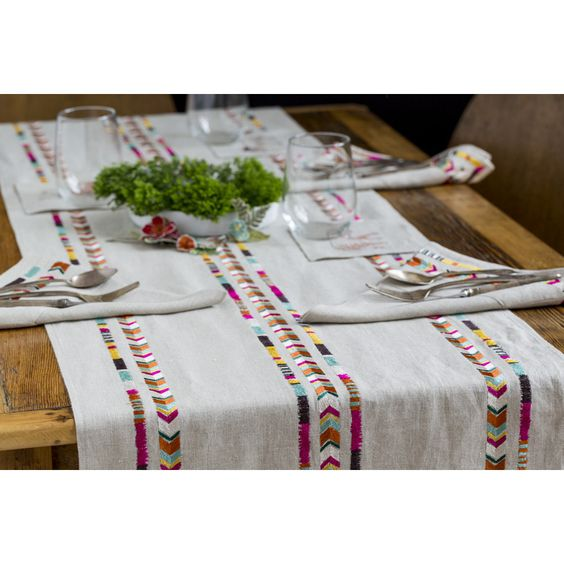 Coral and Tusk - chevron table runner