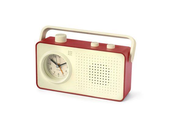 Radio despertador 1960 crema rojo