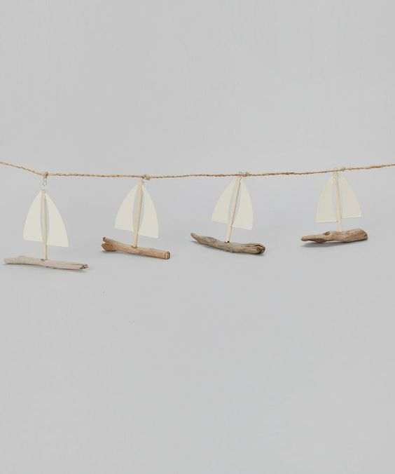 little driftwood sailboat garland: