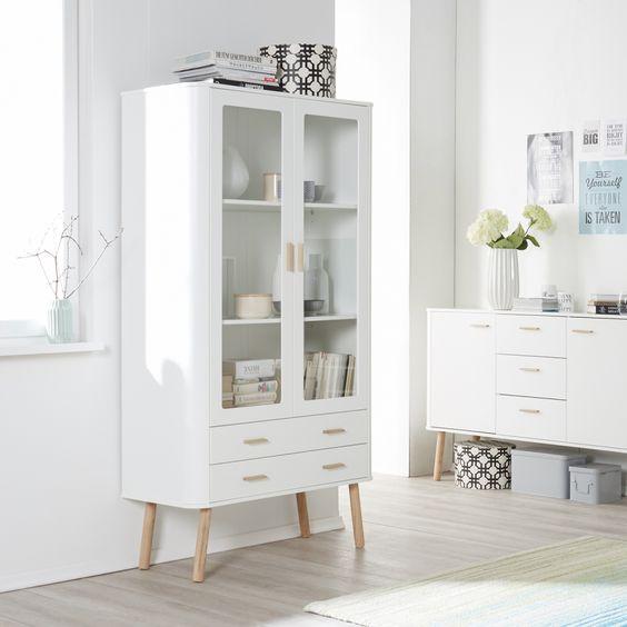 Vitrinenschrank Pilara - Eiche teilmassiv - Eiche / Weiß