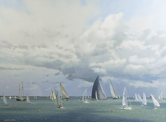 Martin Swan (1951- ), The Hundred Guinea Cup, Cowes 2012 (2012), oil on canvas, 75.9 x 101.3 cm.