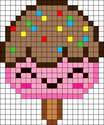 Free Kawaii Ice Cream perler hama bead pattern or cross stitch chart
