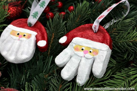 salt dough ornaments - Santa salt dough handprint ornaments - santa craft