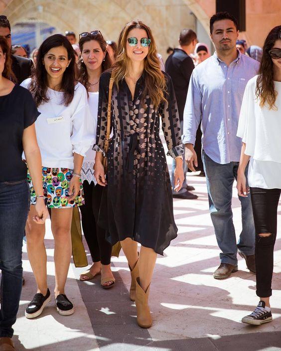 1 September 2016 - Queen Rania attends Amman Design Week in Raghadan - dress by Allsaints