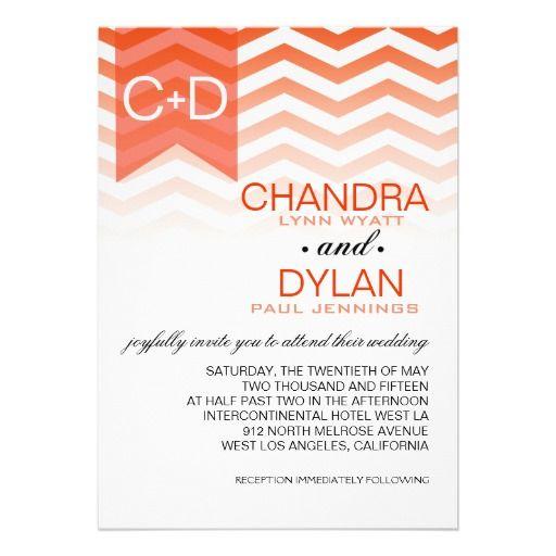 Ombre Chevron Style! | coral Personalized Invites