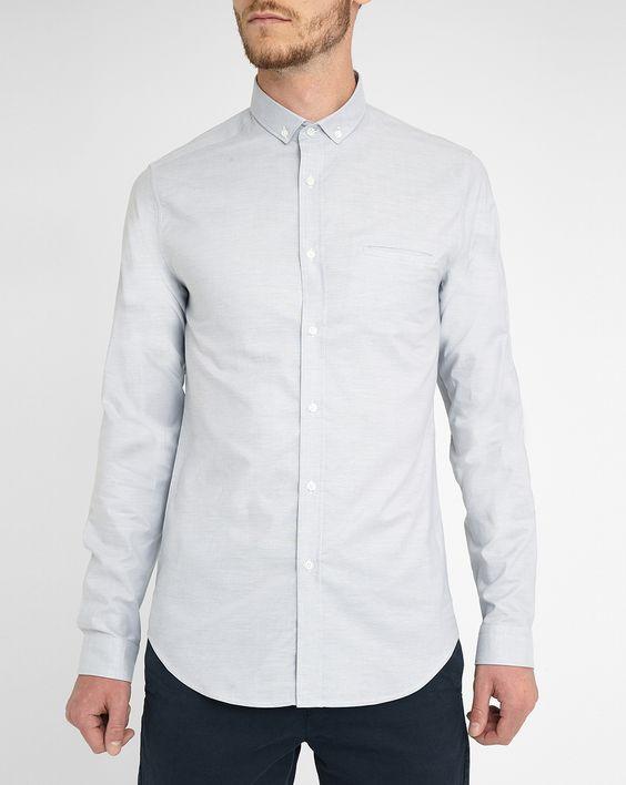 Extraslim Oxford-Hemd Gabriel in Hellgrau, mit kleinem Button-Down-Kragen…