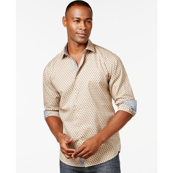 Tallia Big & Tall Dotted Shirt (5490 RSD) ❤ liked on Polyvore featuring men's fashion, men's clothing, men's shirts, men's casual shirts and khaki