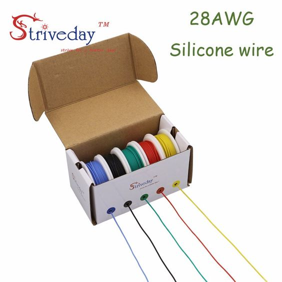 50m 28AWG Flexible Silicone Wire Cable 5 color Mix box 1/box 2 package Electrical Wire Line Copper Conductor To DIY