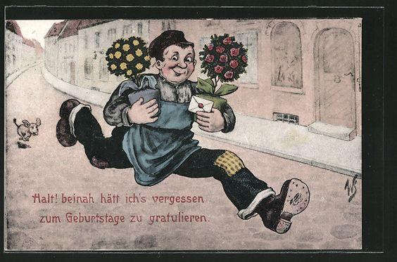 Künstler-AK Willi Scheuermann: Mann rennt mit Blumen und Brief 0