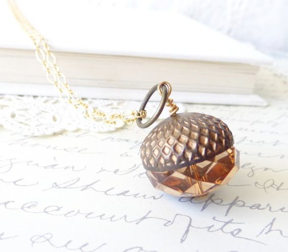 The Acorn  Acorn Necklace 16k Gold Plated  by NestingPretty