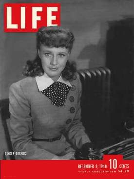 Ginger Rogers on the cover of the December 9, 1940 issue of LIFE Magazine.