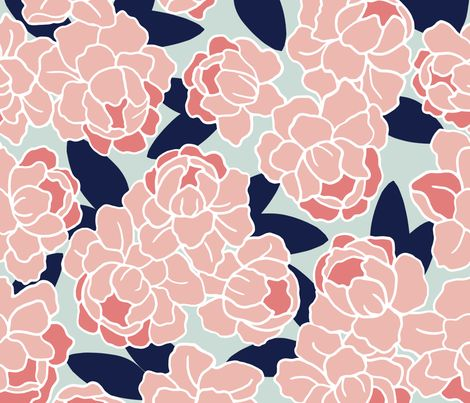 Peonies In Coral And Navy On Mint Aqua Background Fabric