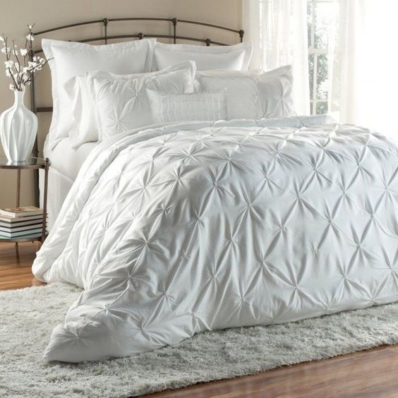 White Luxury Bedding 6 Piece Queen Collection Blanket Bedspread Tufted Comforter…