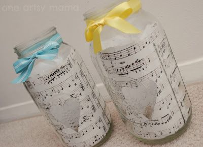 sheet music in jars