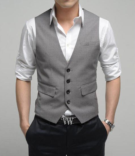 M -black pants we own, grey vest to match the guys - cream or