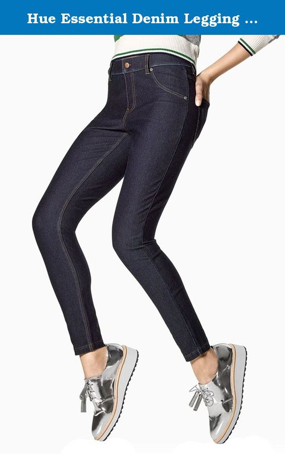 Hue Essential Denim Legging (S, Deep Indigo). Comfortable waistband. Faux front pockets and fly. Functional back pockets. Ankle length. 81% Cotton. 13% Polyester. 6% Spandex. Imported.
