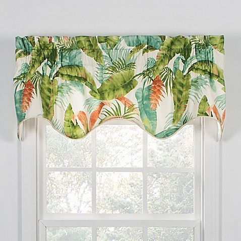 Give Your Decor A Tropical Vacation The Vibrant Banana Leaf Palm Frond And Ginger Flower Print Of The Azul Window Window Valance Valance Coral Bathroom Decor
