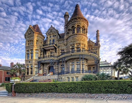 Bishop's Palace  This Photo was taken at Galveston, Texas after sunrise. (07-09-11)  Built by lawyer Colonel Walter Gresham and designed by Nicholas Clayton, Galveston's premier architect, this Victorian castle was cited by the American Institute of Architects as one of the 100 most important buildings in America. The home was built from 1886 to 1892.