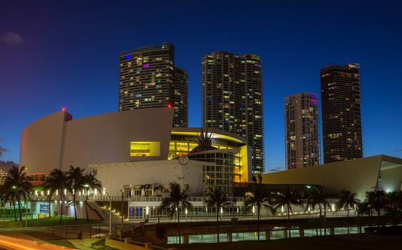 American Airlines Arena - Night photograph taken from the Port Road Bridge near…