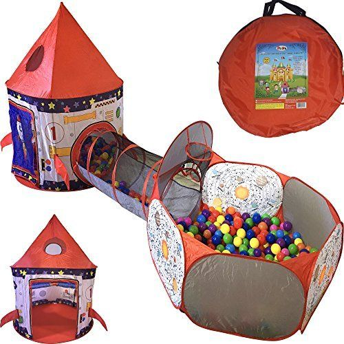 Playz 3 Piece Kids Play Tent Crawl Tunnel and Ball Pit with