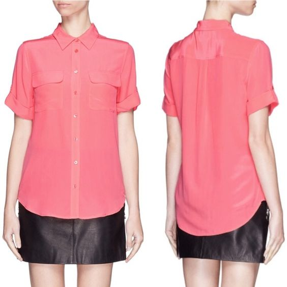 551c0040a97d5 🆕Equipment Slim Signature Short Sleeve Silk Top Authentic Equipment Femme  blouse in coral salmon. Color is truest to photos 2 3 4.