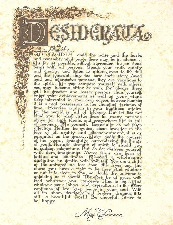 essay about desiderata Trinitarian theophany desiderata by fred sanders on september 14, 2018  share this essay [social_share/] previous essay the undepictable resurrection fred.