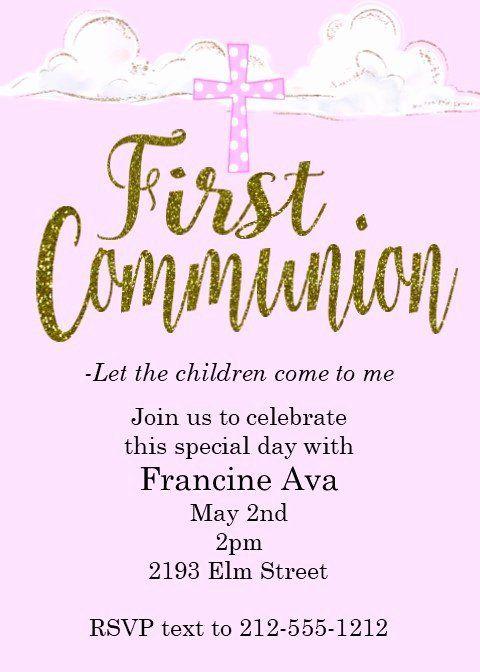 First Holy Communion Invitation Wordings Beautiful First Munion Party Invitations First Communion Invitations Communion Invitations Holy Communion Invitations