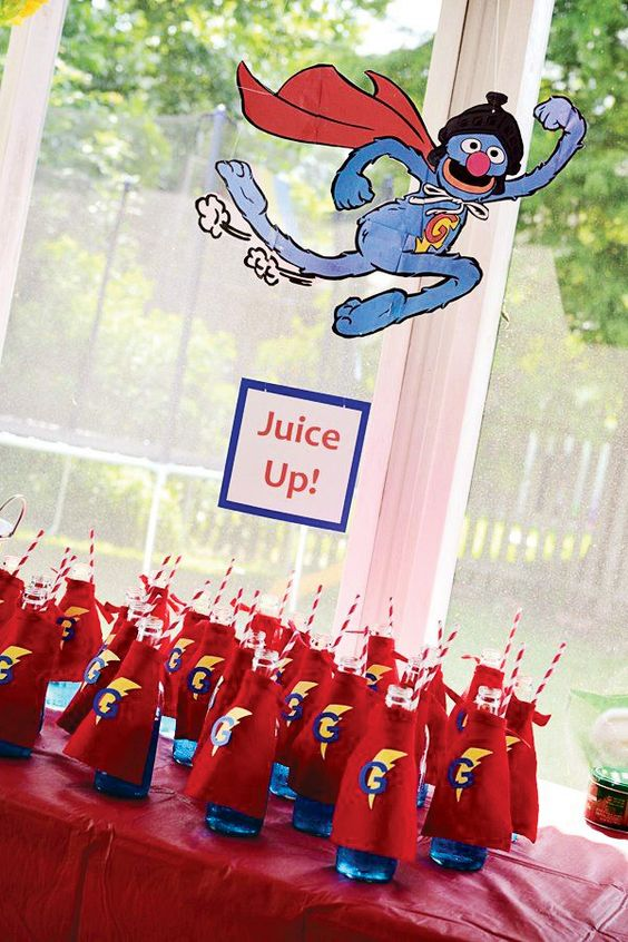 Caped Bottles for Super Grover party!