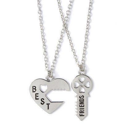 Best Friends Silver Heart Lock and Key Pendant Necklaces – Claire's
