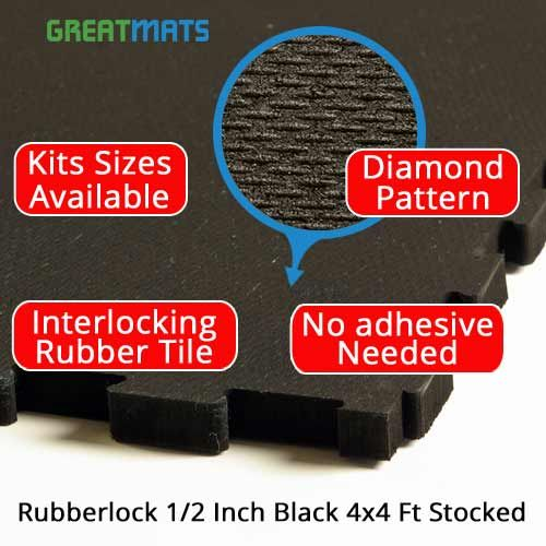 Rubberlock 1 2 Inch Black 4x4 Ft Gym Flooring Tiles Gym Flooring Rubber Tiles