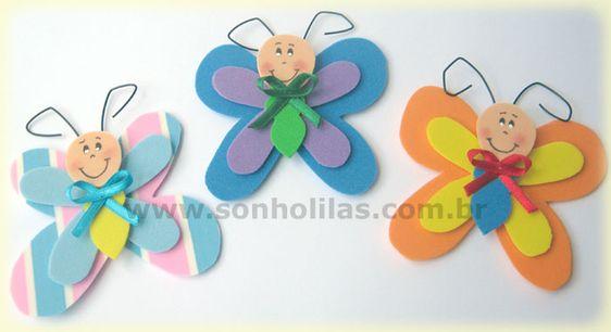 Imã borboletas feitas com eva.