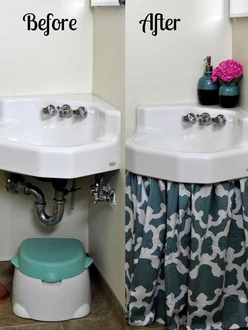 How To Make A Sink Curtain Skirt Easy Diy Tutorial Bumblebee Linens College Bathroom Decor Dorm Bathroom Diy Curtains
