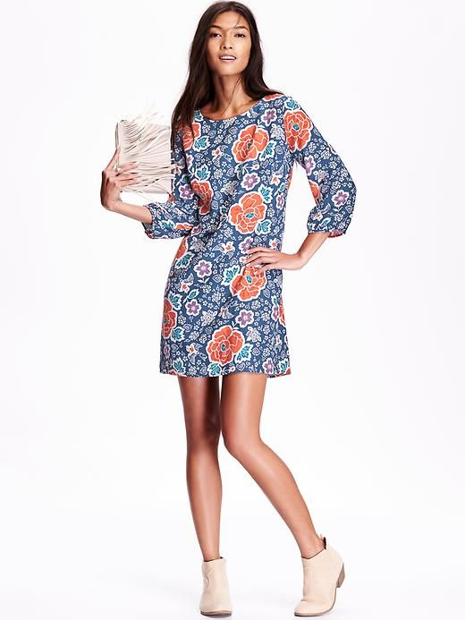 Old Navy Womens Printed Shirred-Back Shift Dress in Blue Floral ...