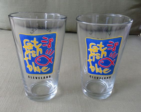 Fat Fish Blue Cleveland Ohio Pair of One Pint Logo Bar Glasses