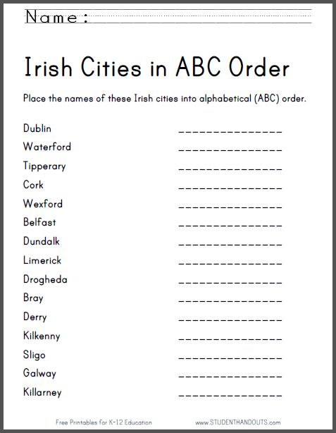 irish cities in abc order worksheet free printable ela english language arts pinterest. Black Bedroom Furniture Sets. Home Design Ideas