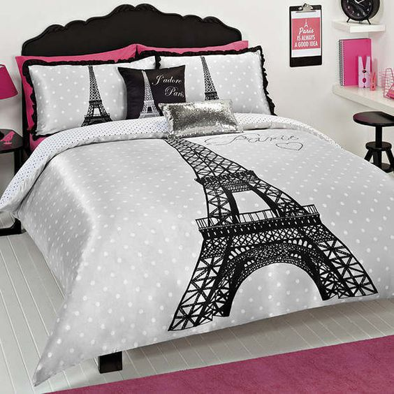 PARIS EIFFEL TOWER QUEEN bed QUILT DOONA COVER SET NEW