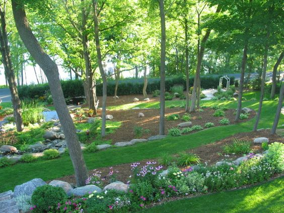 Sloping backyard design sloping escape this was a for Large lot landscaping ideas