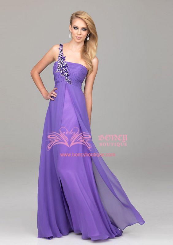 Chiffon Asymmetrical Empire with Rhinestones Party Dress