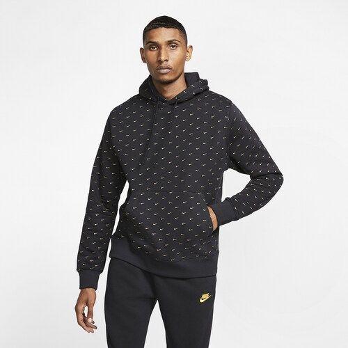 Nike Swoosh AOP Pullover Hoodie - Black / Metallic Gold ...