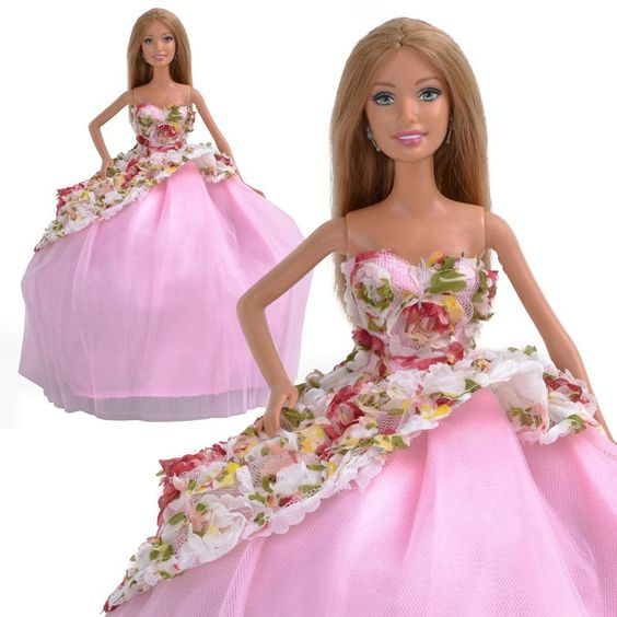 E-TING Handmade Flower Princess Dress Party Clothes Wedding Gown For Barbie Doll