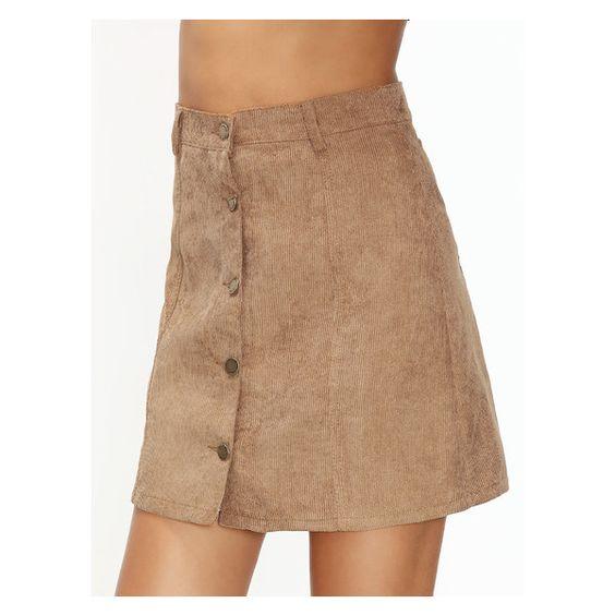 Khaki Corduroy Single Breasted A Line Skirt (20 BAM) ❤ liked on ...