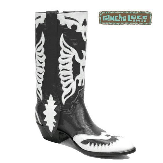 Black and White Double Eagle Cowboy Boots $499 - All-Leather