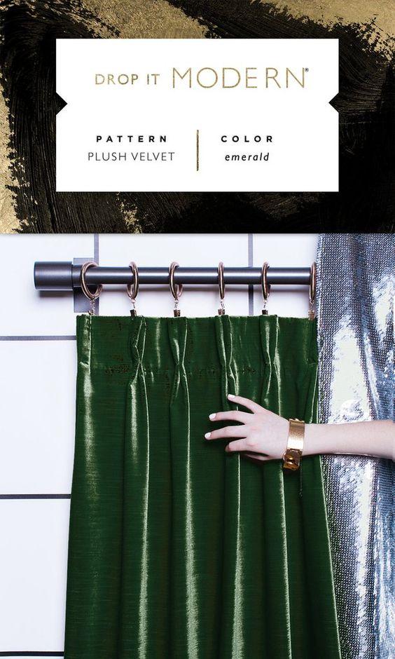 Pinch Pleat Drapery : Plush Velvet // emerald