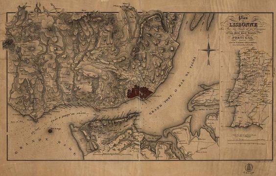Mapa da zona do estuário do Tejo, já do século XX, contendo algumas das localidades referenciadas nos relatos recolhidos e transcritos abaixo. Adaptado de Calmet-Beauvoisin (19--).