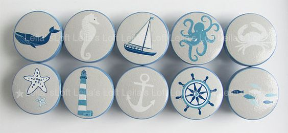 Nautical Drawer Knobs, Sailboat Knobs, Sea Animal Knobs, Octopus Knobs, Nautical…